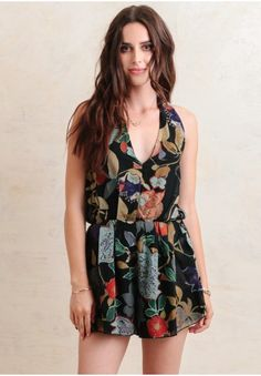 $53 Here Comes The Sun Floral Romper   Modern Vintage Clothing   Ruche