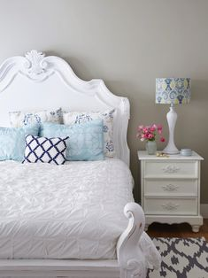 A calming master bedroom in whites and light blues. #hgtvmagazine http://www.hgtv.com/design/decorating/design-101/the-hand-me-down-house-pictures?soc=pinterest