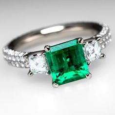 Emerald Engagement Ring w/ Square Diamond Accents 18K White Gold