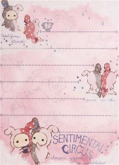 small cute memo pad by San-X from Japan with bunnies Shappo and Spica with hat, stars and clouds