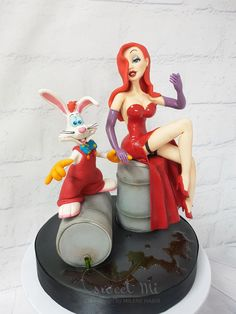 Peice handcrafted in sugar paste, made for cake international entry Won silver 😊😋♥️ Jessica And Roger Rabbit, Jessica Rabit, Cupcake Decorating Techniques, Cake International, Cookie Cake Birthday, License Plate Art, Rabbit Cake, Funky Art, Disney Cakes