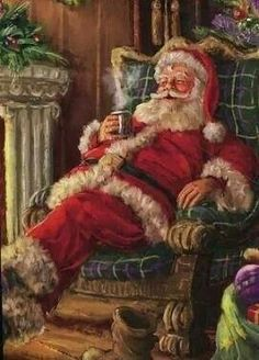 Santa Claus enjoying a cup of cocoa beside the fire. I miss believing in Santa Vintage Christmas Images, Old Christmas, Old Fashioned Christmas, Christmas Scenes, Father Christmas, Victorian Christmas, Christmas Mantles, Christmas Villages, Christmas Countdown