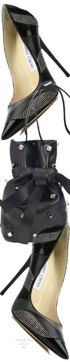 Jimmy Choo Anouk Pumps and Eve Studded Bucket Bag | LOLO❤