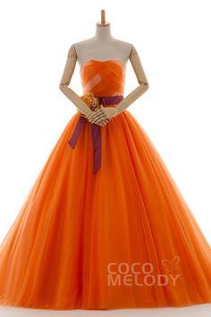 ロマンティック Aライン ハートネック ナチュラル コートトレーン チュール オレンジ スリーブレース シャーリング編み上げ式 ウエディングドレス フラワー サッシュ LD3900