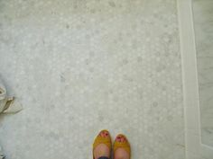 White Carrara Marble Hex Floor Tile - Design photos, ideas and inspiration. Amazing gallery of interior design and decorating ideas of White Carrara Marble Hex Floor Tile in bathrooms by elite interior designers. White Bathroom Tiles, Bathroom Floor Tiles, Shower Floor, Tile Floor, Master Bathroom, Marble Floor, Bathroom Colors, Small Bathroom, Hex Tile