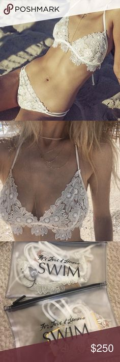 White Valencia bikini set by For love and lemons Both top and bottom are a size small. Both are new with tags. I am only selling them together as a set. This bikini in this color is sold out. Price is firm on posh or I can do $205 via ️️. I will NOT be trading this item. For Love and Lemons Swim Bikinis