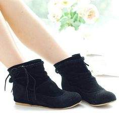 Item Type: Boots Process: Adhesive Season: Winter Closure Type: Slip-On Boot Height: Ankle Toe Shape: Round Toe is_handmade: Yes Insole Material: PU Upper Material: Flock Decorations: Pleated Heel Hei