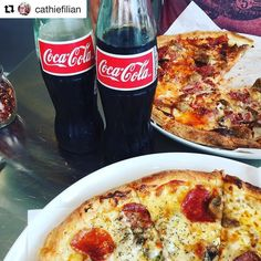 #Repost @cathiefilian with @repostapp  Lunch date with the hubs. #glassbottlecoke #pizza