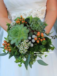 Succulent bridal bouquet created by the designers at Blumz... by JRDesigns Floral & Event Professionals, Detroit, Michigan. Large succulents surrounded by a mixture of textures. White wax flowers, coral hypericum berries, brezellia, bupleurum, green trick dianthus and seed eucalyptus. blumz.com