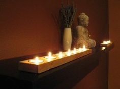 Nice candle feature for a yoga-meditation space. Also I like the warm colors. Holistic Wellness Center Yoga Room with Candles via Photobucket Yoga Room Decor, Meditation Room Decor, Relaxation Room, Yoga Room Design, Reiki Room, Photo Candles, Zen Space, Zen Room, Yoga
