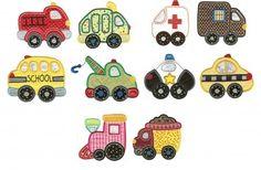 Cute towtruck, dumptruck, ambulance, and firetruck applique machine embroidery designs