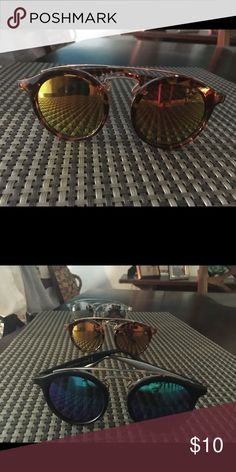 Tortoise mirrored top bar round sunglasses  Amazing tortoise frame not too big perfect size! Mirrored! Brand new and very affordable! Accessories Sunglasses