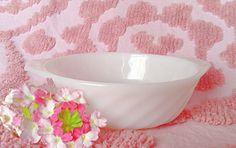 Vintage Fire King Swirl Bowl White Milk Glass