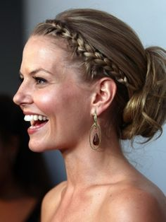 Side braid low-bun:  http://www.lushfabglam.com/2012/03/celebrity-style-steal-actress-jennifer.html