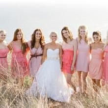Wedding dress and bridesmaid dresses for a fall wedding