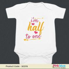 Personalized HALF Birthday Onesie - Customised Baby 1 2 Birthday Romper -  Half Birthday Newborn 4de3628ab2fb