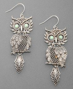 Lucky Brand Earrings, Silvertone Shaky Owl - - totally looks like a pendent I had when I was little