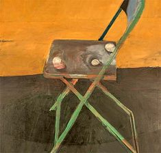 An image of a painting of a green chair on a brown floor against an orange wall