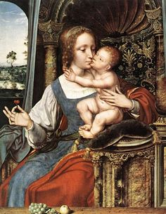 Quinten Massys placed his Madonna on an ornate Renaissance throne with marble columns. It was a favourite composition - he painted several versions of it. Quinten Massys (and/or studio) Madonna and Child c. 1525 - 1530 and Renaissance Paintings, Renaissance Art, Classic Artwork, Blessed Mother Mary, Madonna And Child, Old Master, Art Studies, Christian Art, Religious Art