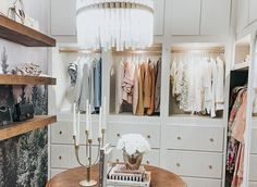 Space of the Week, Closet Makeover Storage Bins, Storage Spaces, White Bin, Closet Mirror, Luxe Decor, Linen Closet Organization, Drum Table, Gold Walls, Modern Farmhouse Style