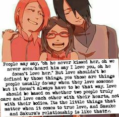 That's what love means!And i love them because they are like this!SasuSaku FOREVER!