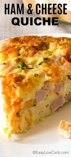 Easy Crustless Ham and Cheese Quiche is a quick and easy meal! Perfect for a low carb/keto breakfast or dinner! via Easy Crustless Ham and Cheese Quiche is a quick and easy meal! Perfect for a low carb/keto breakfast or dinner! via Easy Low Carb Ham And Cheese Quiche, Keto Quiche, Quiche Recipes, Keto Recipes, Low Carb Quiche, Quiche Crustless, Frittata, Easy Quiche, Greek Recipes