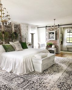 Rustic Bedroom Ideas - If you intend to go to sleep in rustic stylish then this article is ideal for you. We have actually collected a lot of rustic bedroom design ideas you could make use of. Green Master Bedroom, Farmhouse Master Bedroom, Master Bedroom Design, Cozy Bedroom, Home Decor Bedroom, Modern Bedroom, White Rustic Bedroom, Trendy Bedroom, Contemporary Bedroom