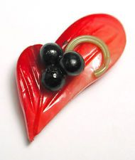 Vintage Weeber Celluloid Button Hand Formed Realistic Leaf & Berries 1930s