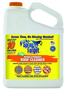 Spray & Forget Revolutionary Roof Cleaner Concentrate Roof Cleaning, Black Stains, Mold And Mildew, Carpentry, Biodegradable Products, Forget, Surface, Vinyl Wood, Flash Point