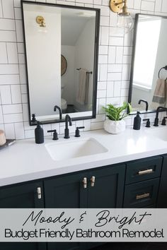 Moss green cabinets and black tile floors offset bright white subway tile and quartz, for a striking bathroom remodel that is very budget friendly. Black Tile Bathrooms, Upstairs Bathrooms, Bathroom Floor Tiles, Small Bathroom, Black Bathroom Decor, Black And White Bathroom Ideas, Teen Boy Bathroom, Black Bathroom Mirrors, Bathroom Lights Over Mirror