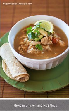 Mexican Chicken and Rice Soup (Lourdes Chicken Soup Recipe) - Frugal Living Mom Chicken Rice Soup, Chicken Soup Recipes, Mexican Chicken And Rice Soup Recipe, Vegetarian Chicken, Recipe Chicken, Healthy Chicken, Chicken Salad, Mexican Dishes, Mexican Food Recipes