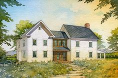 simple farmhouse | ... Design House Plans Gallery - American Homestead Revisited - Farmhouse