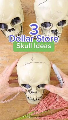 Dollar Tree Halloween, Dollar Tree Crafts, Halloween Skull, Halloween Diy, Happy Halloween, Halloween Outside, Holidays Halloween, Halloween Treats, Spooky Decor
