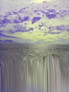 Ocean Falls with Lavender Clouds Art Print ocean, sea, waterfall, falls, water, waves, nature, seascape, abstract, contemporary, lavender, coastal,