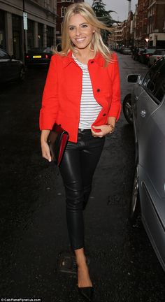 Brightening up the night sky! Mollie King stands out in vibrant red coat and skintight trousers as she co-hosts radio show : Eye-catching: Mollie King looked bright and cheery as she left the Radio 1 studios on Sunday evening Mollie King, King Fashion, Outfit Invierno, Fashion Photography Inspiration, Skin Tight, Fashion Outfits, Womens Fashion, Her Style, Celebrity Style