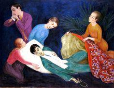 """El dandi moribundo (""""The dying dandy""""). Nils von Dardel. 1918. Localización: Moderna Museet (Estocolmo). https://painthealth.wordpress.com/2016/03/15/el-dandi-moribundo/"""
