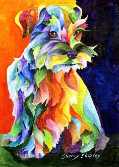 Schnauzer Too Dog Print by Artist Sherry Shipley Miniature Schnauzer Puppies, Schnauzer Puppy, Schnauzers, Goldendoodle Art, Yorkie, Arte Pop, Dog Quilts, Canvas Art, Canvas Prints