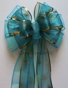Aqua Blue Peacock Bow Wedding Decoration Bow by greentraderllc