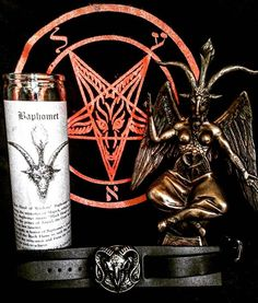 "We have an array of Glass Spell Candles great for use with your ritual needs. Pictured here is the Baphomet Candle, burned in honor of Baphomet, Cain, Azazel and the Power of the Black Flame. $7.99 Also pictured: Traditional Sigil of Baphomet 20 x 20 Altar banner. A vibrant addition to your private altar, showcasing the powerful image of the Baphomet. $18.99 Baphomet - the Sabbatic Goat w/ Sigil Bronze Statue. 9 1/2"" x 5 1/2"" x 3 1/4"" this richly detailed depiction of the classic Levy…"