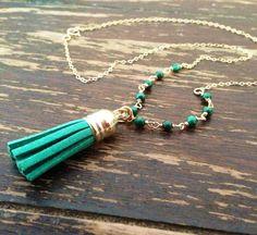Green Malachite Necklace Gold Jewelry Black by jewelrybycarmal, $39.00