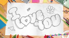 """How to draw I Love You"""" in Bubble Letters - Easy step-by-step drawing lessons for kids Love Drawings For Him, Cute Drawings Of Love, Drawings For Boyfriend, Easy Disney Drawings, Easy Doodles Drawings, Bubble Drawing, Drawing Lessons For Kids, Drawing Ideas, Easy Drawings For Beginners"""