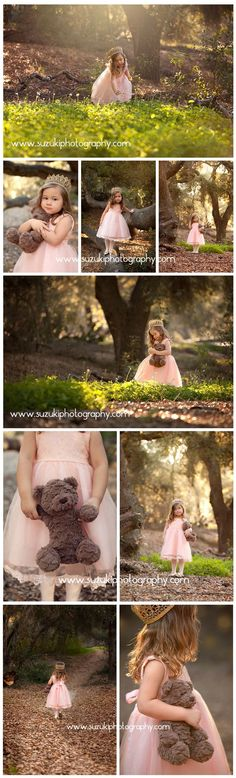 Princess in the forest photo shoot. There is something magical about a little girl in a princess dress with her favorite bear. Suzuki Photography Like My Instagram Page #zz #zwyanezade #21