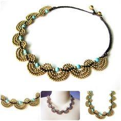 Boho Necklace Handmade Brass Wave Cascade JN1016-TU