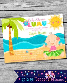 pdf only hulu baby shower invitation digital printable new diy luau hawaii island baby shower digital invite baby girl