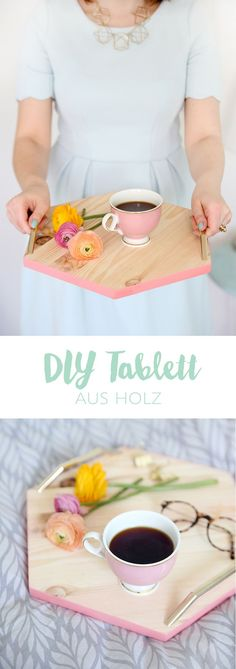 Kreative DIY-Idee zum Selbermachen: Hexagon-Tablett aus Holz selbstgemacht