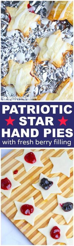 These Blueberry & Strawberry Star Hand Pies are the perfect patriotic dessert for your 4th of July party or grab-and-go treat for your summer BBQs!