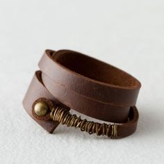 Leather Brass Wrap Bracelet in Spa+Accessories JEWELRY Bracelets+Rings at Terrain