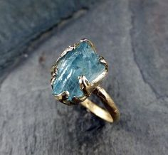 The coolest uncut aquamarine rock. #etsyjewelry