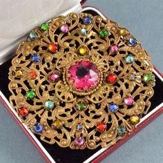 Винтажная брошь большой 1920s арт деко Чешская разные цвета и розовый кристалл ювелирных изделий | eBay  #VintageJewelry