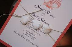 Destination Wedding Invitation: Coral Seashell Wrapped Destination Wedding Invitation. $4.00, via Etsy.